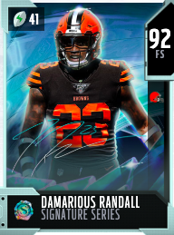 Damarious Randall's 92 OVR Signature Series MUT card