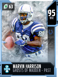 95 OVR Ghosts of Madden de Marvin Harrison - Tarjeta MUT pasada