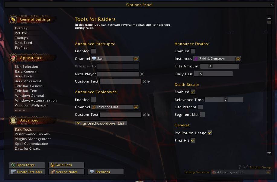 Opciones de detalles de complementos de World of Warcraft