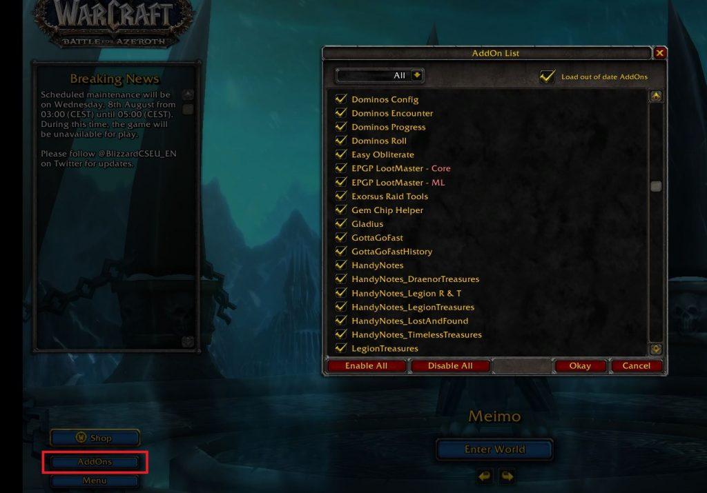 Complementos de captura de pantalla de WoW en la pantalla del personaje