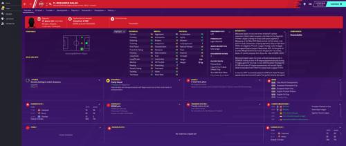 Atributos e información inicial de Football Manager 2020 de Salah.
