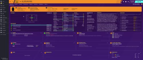 Los atributos e información iniciales de Football Manager 2020 de Moutinho.