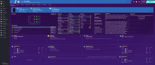 Los atributos e información iniciales de Football Manager 2020 de Otavio.