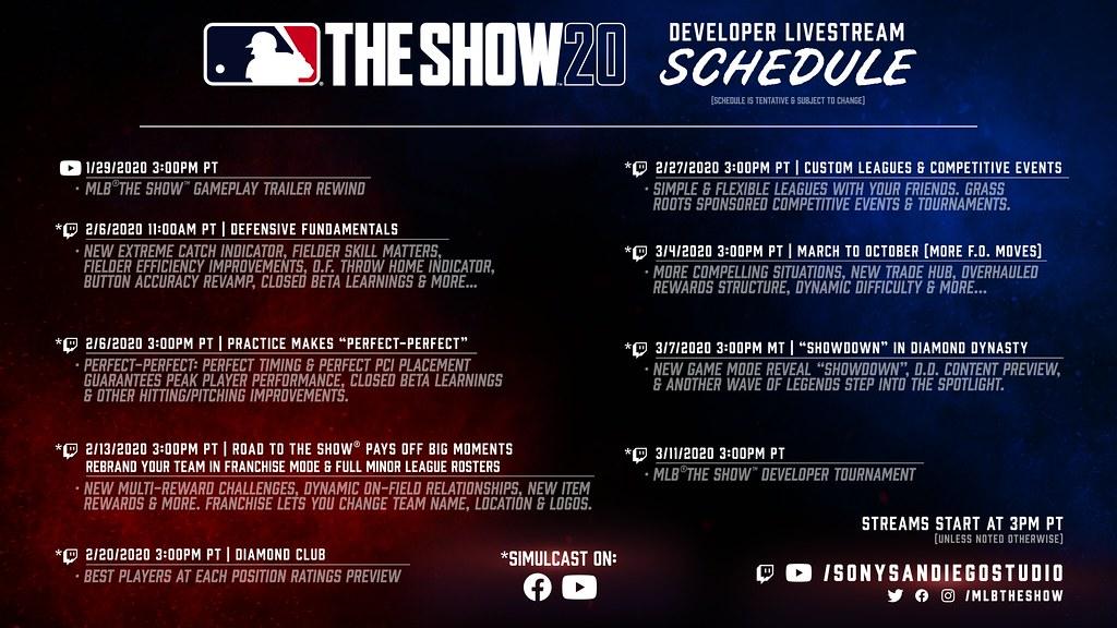 """mlb-the-show-20-gameplay-developer-livestream-schedule """"srcset ="""" https://realsport101.com/wp-content/uploads/2020/01/mlb-the-show-20-gameplay-developer-livestream -schedule.jpg 1024w, https://realsport101.com/wp-content/uploads/2020/01/mlb-the-show-20-gameplay-developer-livestream-schedule-300x169.jpg 300w, https: // realsport101 .com / wp-content / uploads / 2020/01 / mlb-the-show-20-gameplay-developer-livestream-schedule-500x281.jpg 500w, https://realsport101.com/wp-content/uploads/2020/ 01 / mlb-the-show-20-gameplay-developer-livestream-schedule-768x432.jpg 768w, https://realsport101.com/wp-content/uploads/2020/01/mlb-the-show-20-gameplay -developer-livestream-schedule-360x203.jpg 360w, https://realsport101.com/wp-content/uploads/2020/01/mlb-the-show-20-gameplay-developer-livestream-schedule-545x307.jpg 545w """"tamaños ="""" (ancho máximo: 1024px) 100vw, 1024px """">   <p>La transmisión en vivo del 13 de febrero será a las 3 p.m. PT (6 p.m. ET / 11 p.m. GMT).</p> <p>Hasta mediados de enero, cuando cayó el avance del juego, cualquier información sobre The Show 20 era extremadamente limitada. Conocíamos la estrella de portada y la fecha de lanzamiento, pero eso fue todo.</p> <p>Sin embargo, junto con el avance, lanzaron el cronograma completo de transmisión en vivo del desarrollador, revelando nuevas características y dándonos fechas para circular para obtener más información.</p> <p><strong>LEER MÁS: MLB The Show 20 RTTS: Nuevas características y mejoras</strong></p> <p>El 13 de febrero seremos invitados a la próxima transmisión en vivo, que arrojará luz sobre las renovadas relaciones y desafíos dinámicos de Road to the Show, junto con grandes adiciones al modo de franquicia.</p> <h2>Como mirar</h2> <p>Esta próxima transmisión, junto con cualquier otra transmisión, se transmitirá en vivo en el canal oficial de contracción de SIE San Diego. También se transmitirán simultáneamente en Facebook y YouTube, ¡así que hay muchas maneras de mirar!</p> <h2>¿Qué queremos de las tra"""