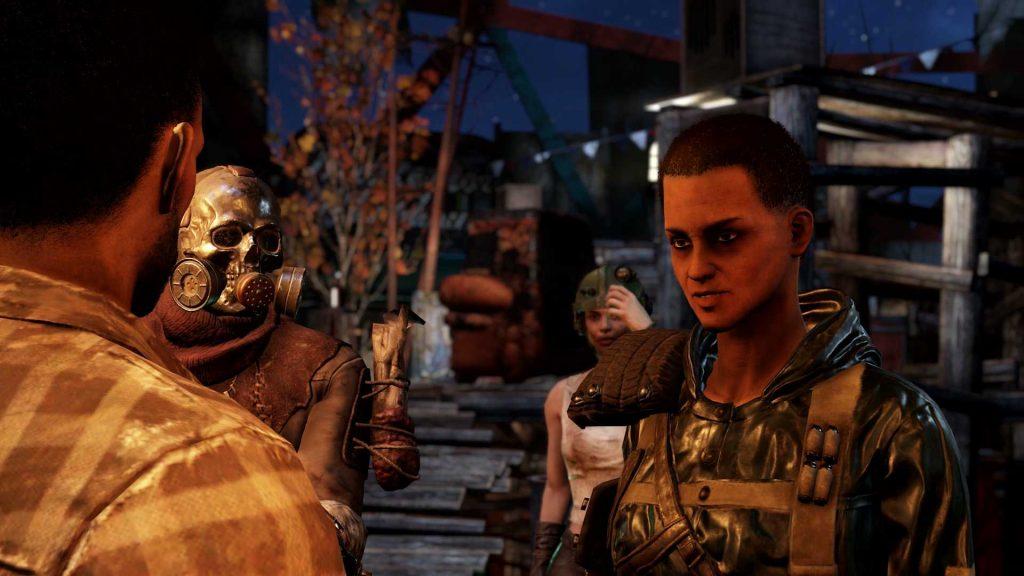 Fallout 76 Wastelanders captura de pantalla del campamento de asaltantes