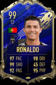 Tarjeta FIFA 20 TOTY 99 OVR de Cristiano Ronaldo