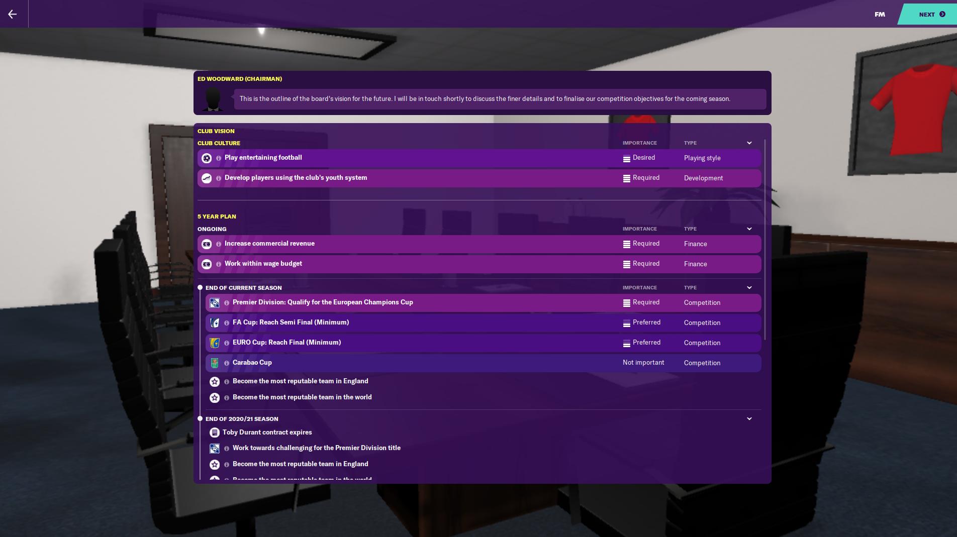 La visión del Club FM20 de Man Utd dice que debes terminar entre los cuatro primeros