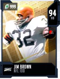 Tarjeta de Jim Brown 94 OVR NFL 100 MUT