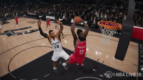 James Harden salta para una volcada en NBA Live 19
