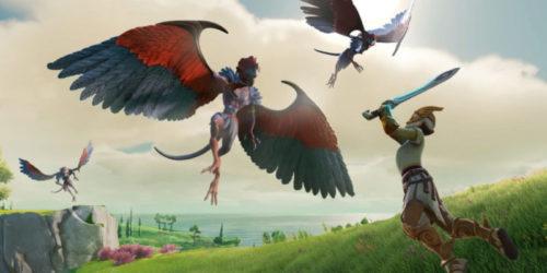 Un guerrero lucha contra una criatura alada en Gods & Monsters