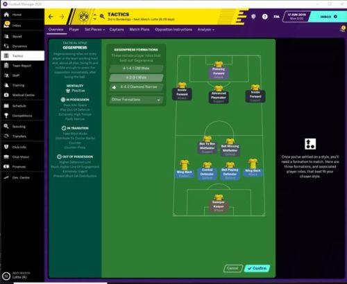 Las tácticas iniciales de FM20 del Borussia Dortmund