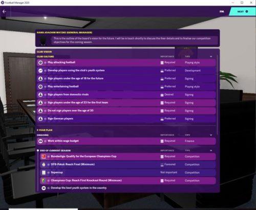 La visión inicial del club FM20 del Borussia Dortmund