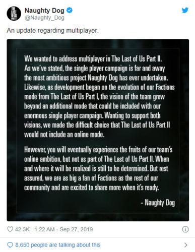 Declaración de Naughty Dog sobre un modo multijugador
