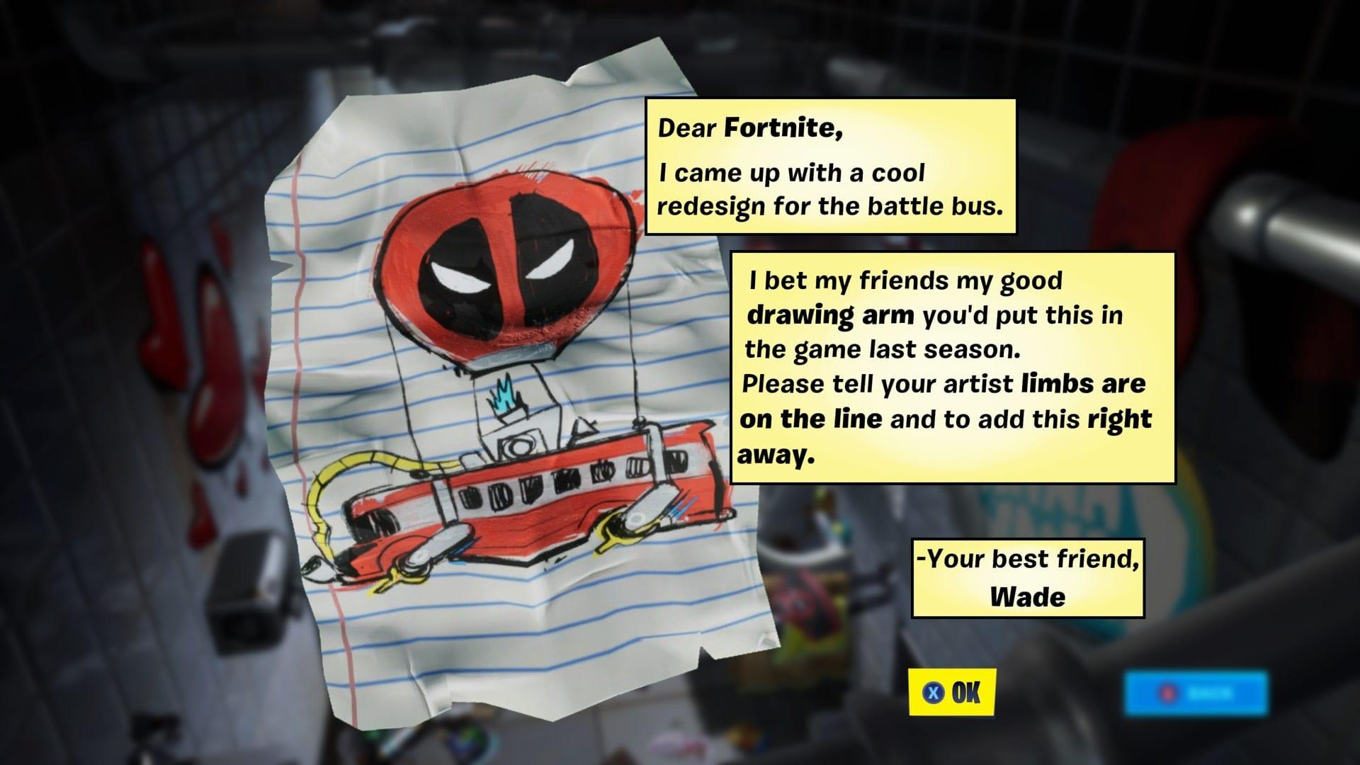 Carta de Fortnite Deadpool a Epic