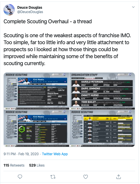 madden 21 scout revisión tweet