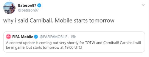 tuit promocional de carniball confirmado