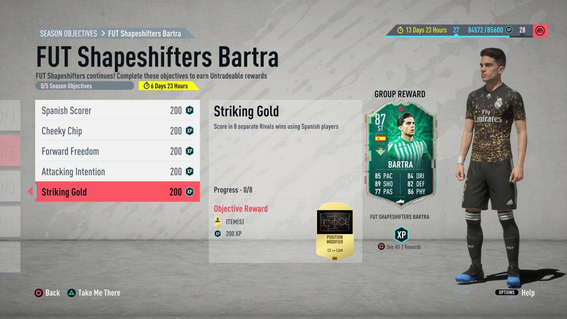 FIFA 20, cambiaformas de bartra