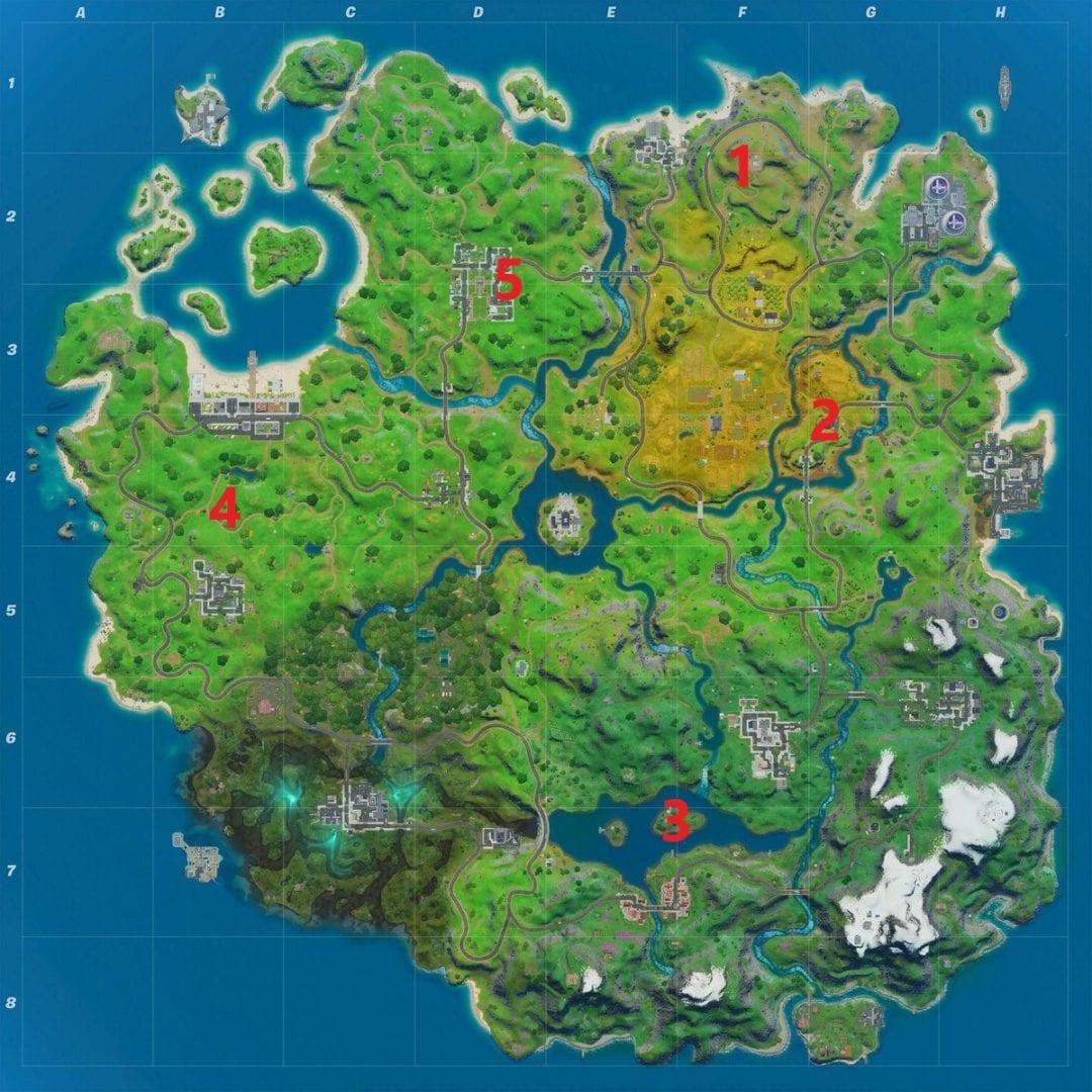 Mapa de ubicaciones de Fortnite Safe House