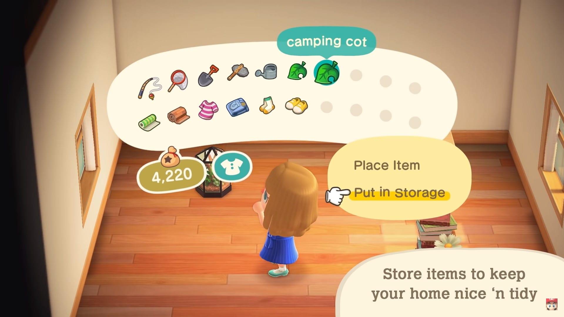 almacenar artículos en Animal Crossing: New Horizons