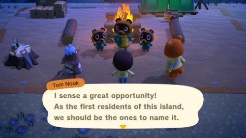 Tom Nook preguntando cómo quieres llamar a tu isla.