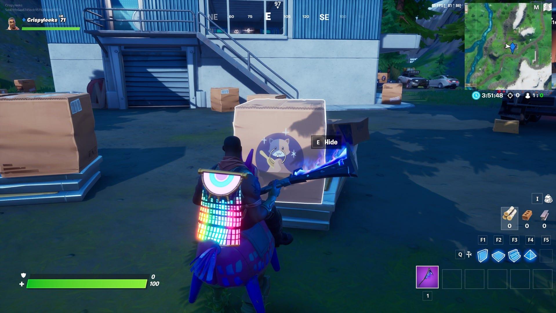 Cartón arrastrándose en Box Factory en Fortnite