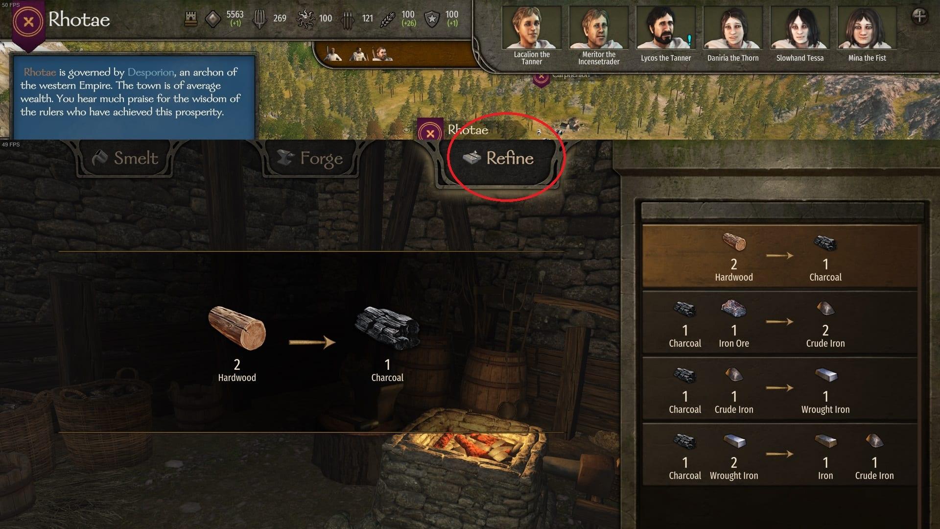 Uso de la opción Refinar para conseguir carbón en el soporte y la cuchilla 2