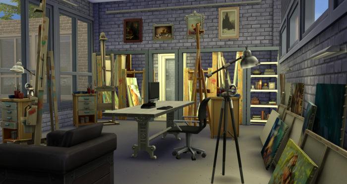 estudio de arte, sims 4, ideas de casa