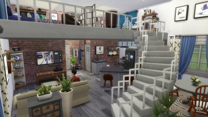 sims 4, apartamento tipo loft, ideas de casas