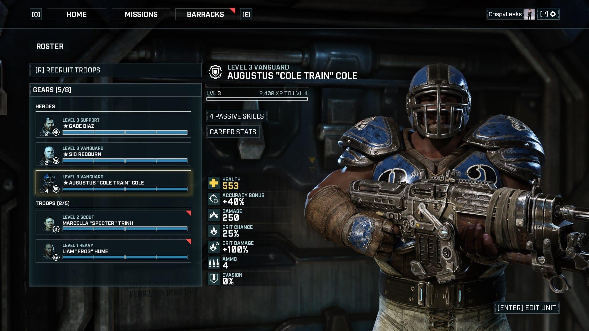 Thrashball Cole en Gears Tactics