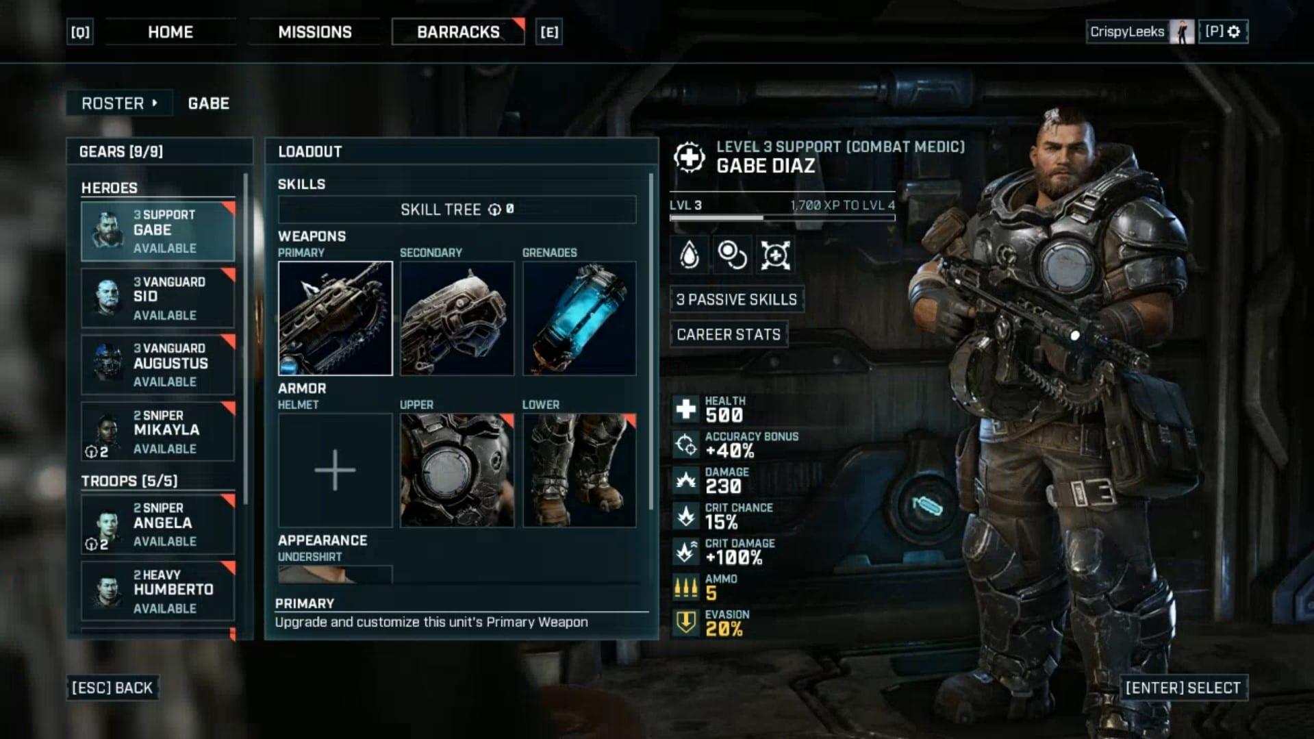 Armas y armaduras mejoradas en Gears Tactics, tácticas de engranajes mejoran las armas