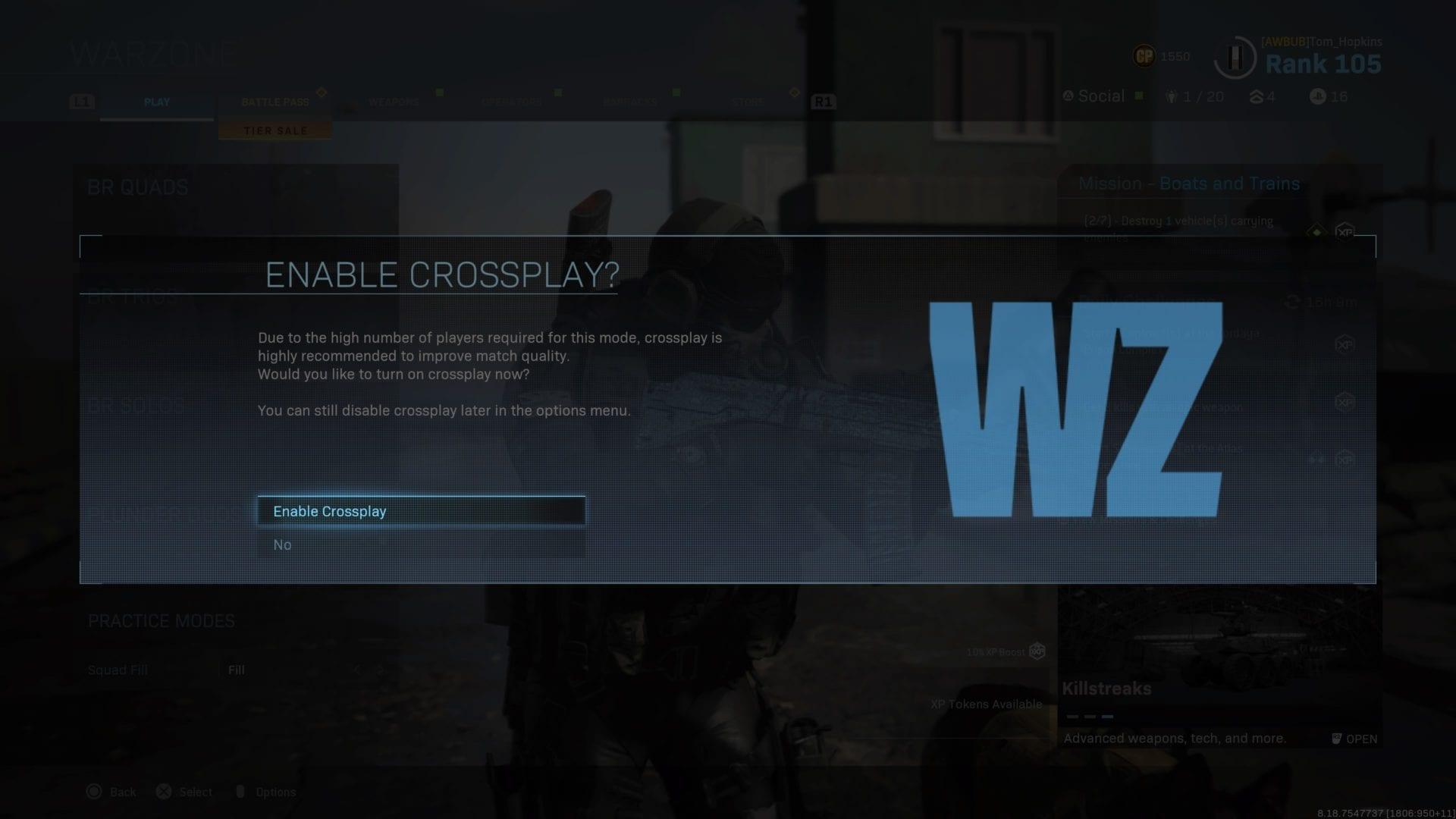 zona de guerra, deshabilitar crossplay