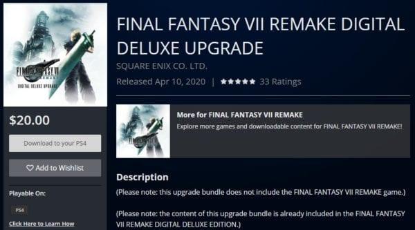 actualización digital de lujo del remake ff7, actualización digital de lujo del remake final fantasy 7