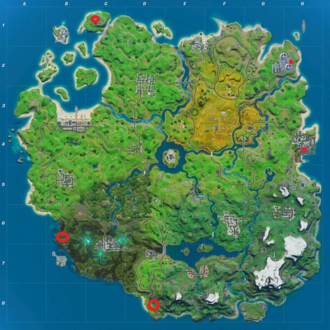 Mapa de ubicaciones de llaves de tubo Golden Fortnite