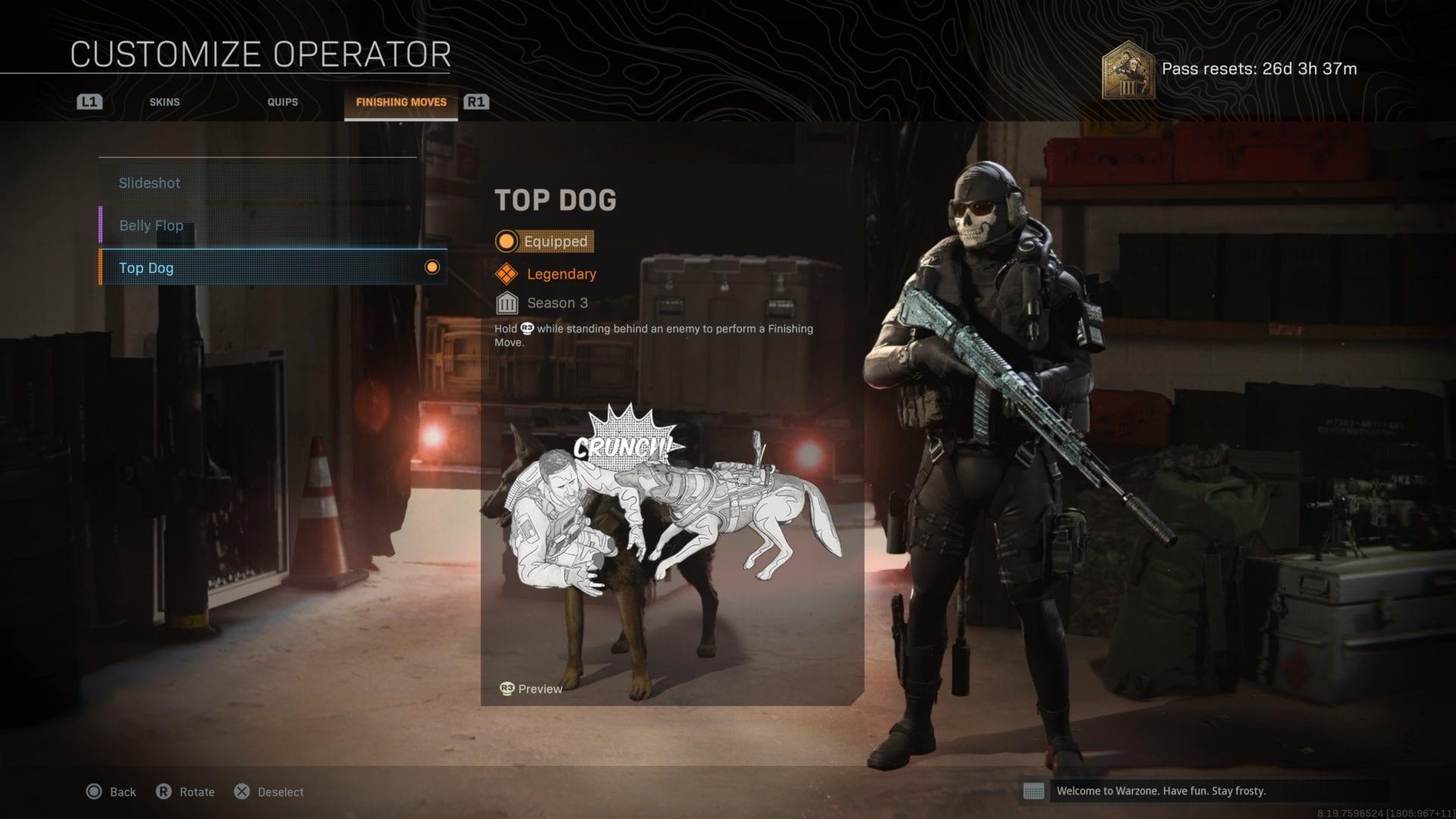 zona de guerra, consigue perro
