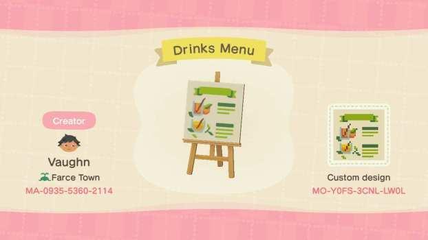 Menú de bebidas