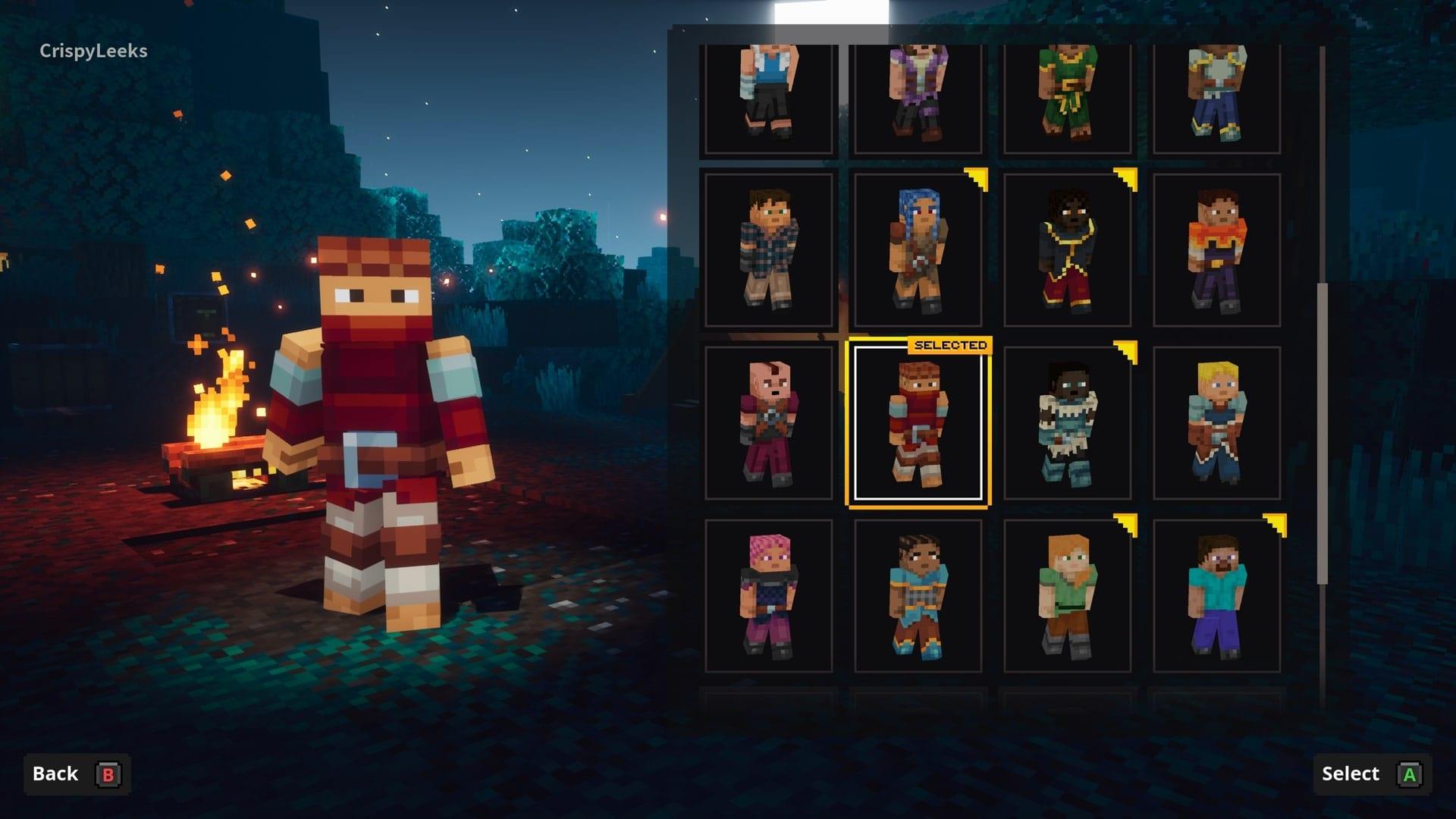 cambiar la apariencia de los personajes en las mazmorras de minecraft