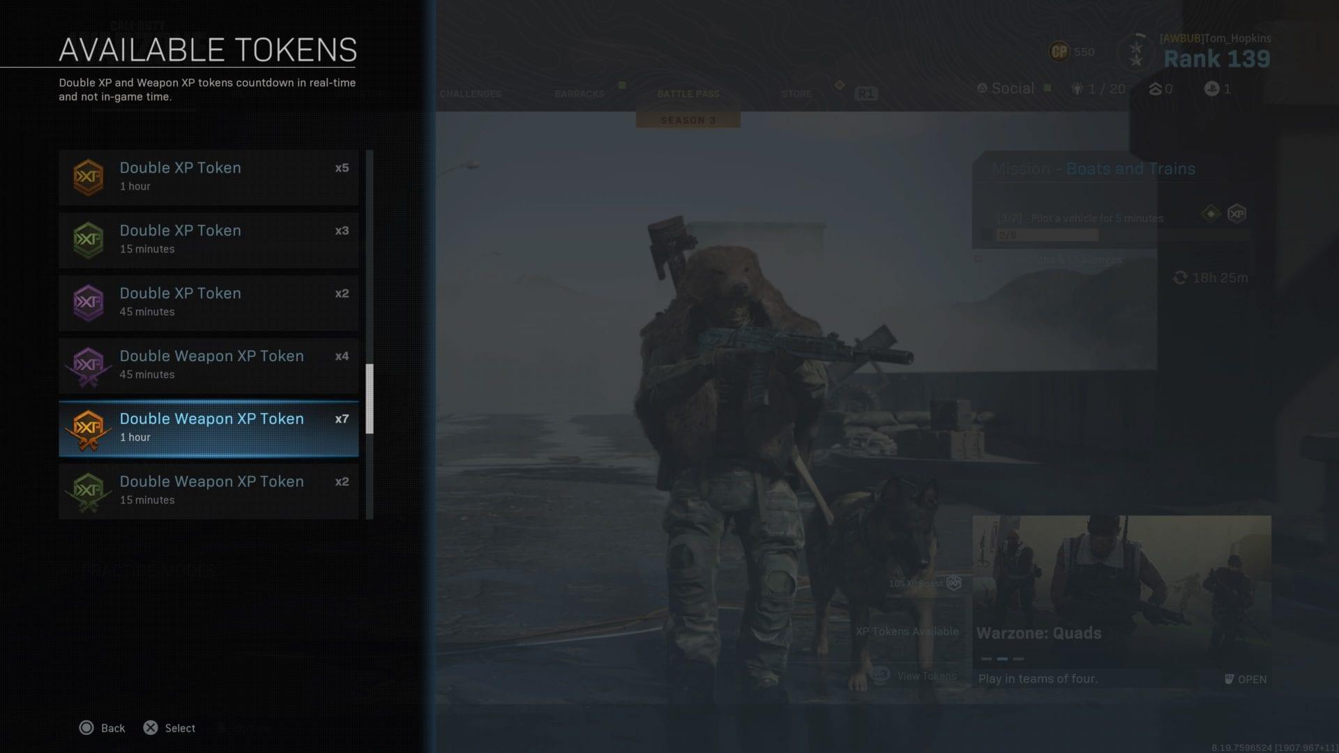 guerra moderna, fichas de arma dual xp