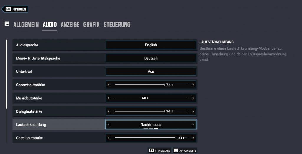 Opciones de sonido Rainbow Six Siege