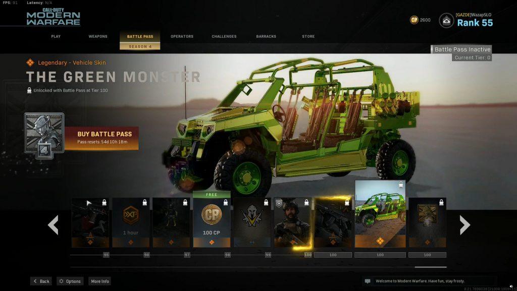 Call fo Duty Modern Warfare Warzone Battle Pass Temporada 4 Monstruo verde