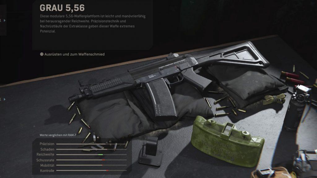 configuraciones de armas de guerra moderna cod gris 556 comparar ram 7
