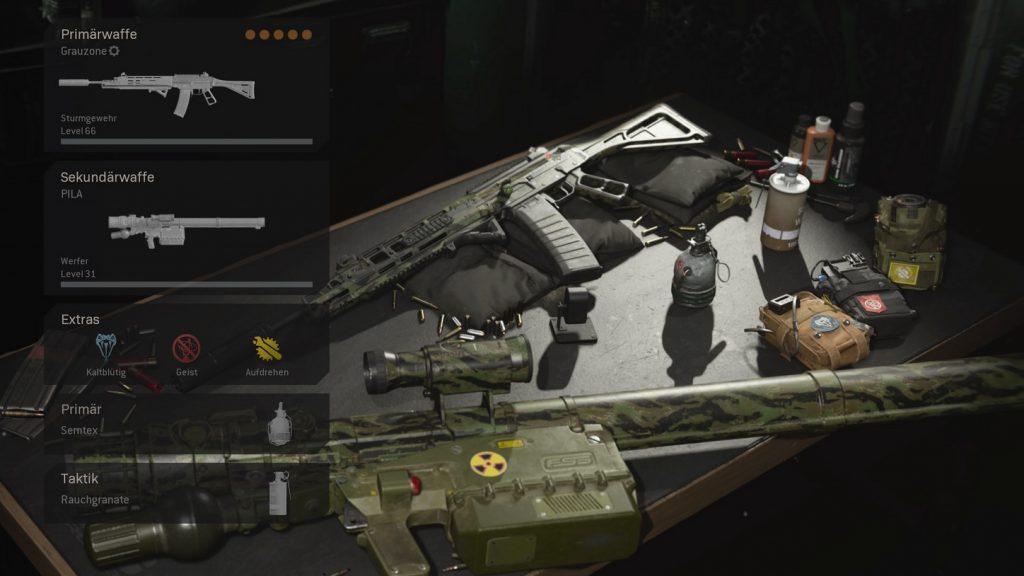 bacalao warzone trio cargas gris configuración partidario