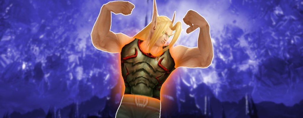 Título legendario de WoW elfo de sangre en el pecho de Shadowlands 1140x445