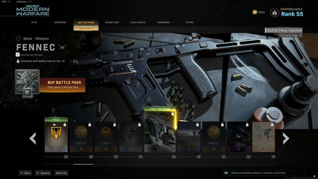 Call fo Duty Modern Warfare Warzone Battle Pass Temporada 4 Fennec