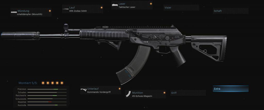bacalao guerra moderna zona de guerra arma cr-56 amax configuración estándar