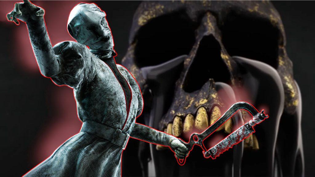 Dead by Daylight Nurse enfrente del título de calavera negra 1920x1080