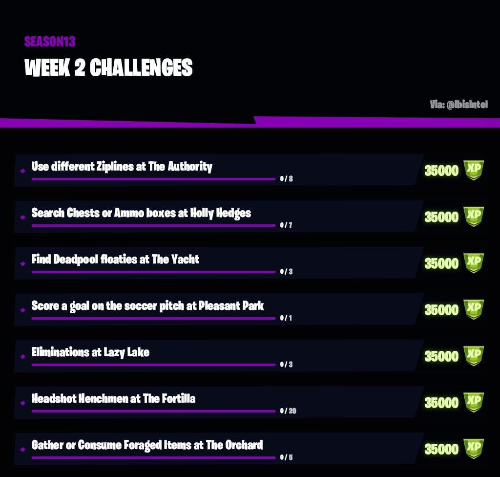 Fortnite semana 2 desafíos