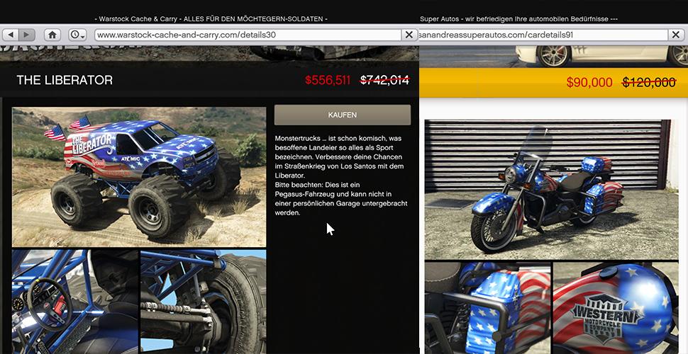 Vehículos de GTA 5 Online America