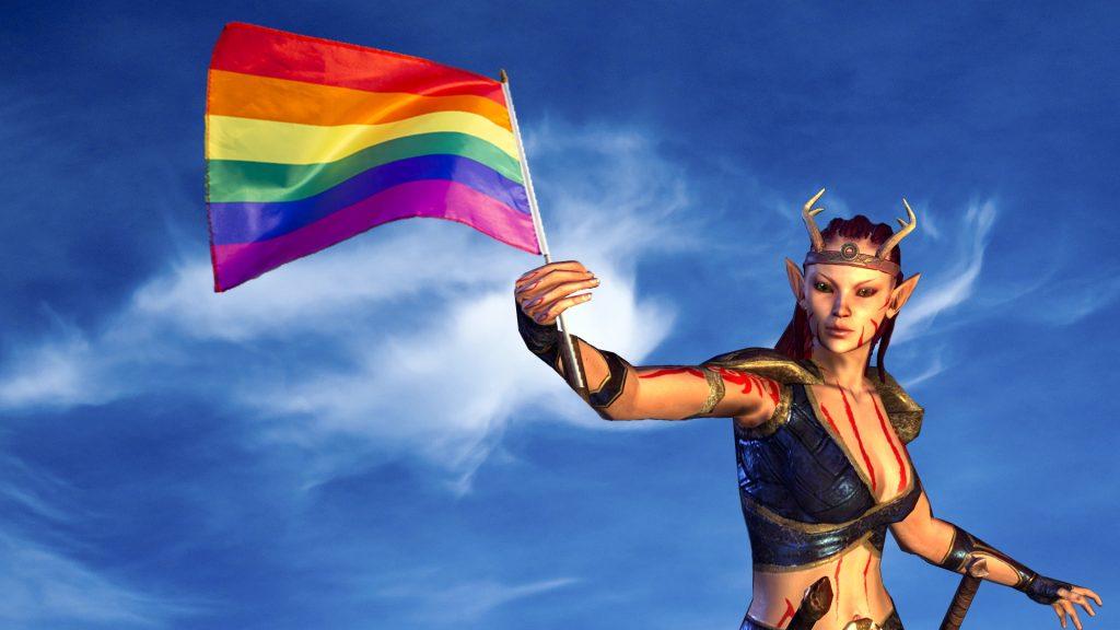 Bandera LGBTQ del mes del orgullo del título de ESO