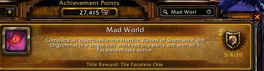 WoW Mad World Achievement