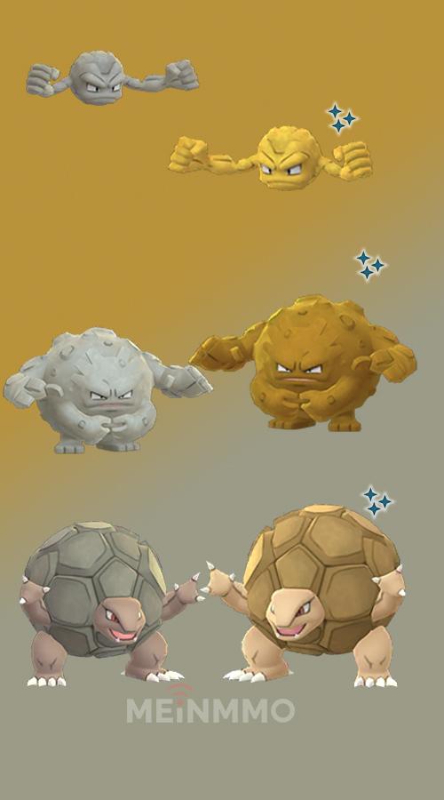 Pokémon GO Kleinstein Shiny family